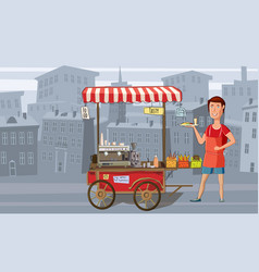 street food coffee trolley with the seller fast vector image