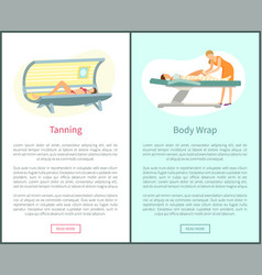 Tanning and body wrap web posters in spa salon vector