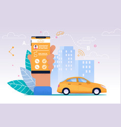 taxi mobile service smartphone flat application vector image
