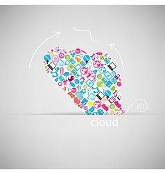 Template design Cloud with social network vector