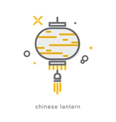 Thin line icons Chinese lantern vector