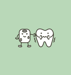 Tooth feeling cold from ice - sensitive teeth vector