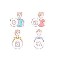 wallet shopping bag and timer icons algorithm vector image