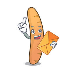With envelope baguette character cartoon style vector