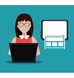 Woman and laptop computer vector