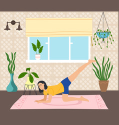 woman working out doing exercises at home on a mat vector image