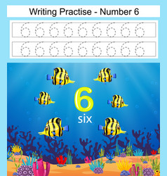 Writing practices number 6 with beautiful fish vector