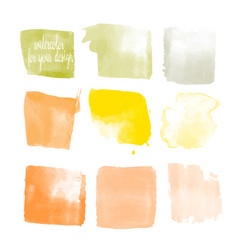 Yellow colors watercolor paint stains vector