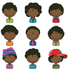 African-American boys avatar vector image vector image