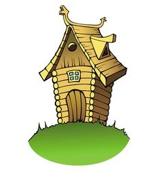 cartoon wooden house vector image