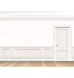 Classic interior in white color with door vector image vector image