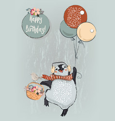 cute penguin with balloons vector image vector image