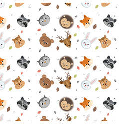 cute wild animals head pattern over white vector image