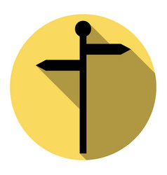 direction road sign flat black icon with vector image