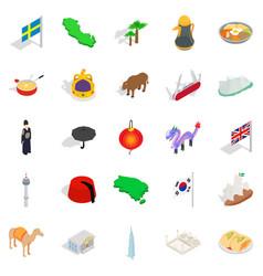 europe icons set isometric style vector image