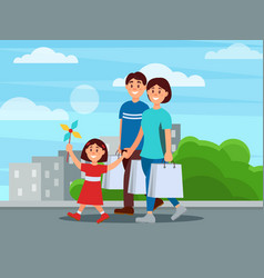 happy family walking by park after shopping vector image vector image