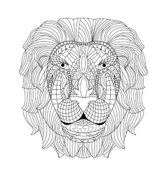 Lion head coloring for adults vector image vector image