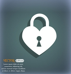 Lock in the shape of heart icon On the blue-green vector image vector image