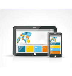 Smartphone and a Tablet PC with a responsive vector image