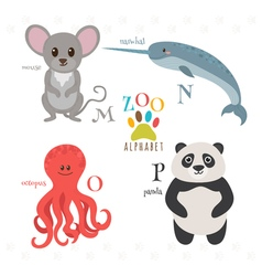 Zoo alphabet with funny cartoon animals M n o p vector image
