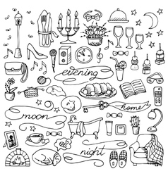 Hand drawn evening set vector image vector image