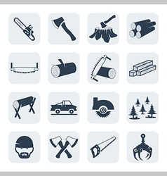 lumberjack and sawmill icons set vector image