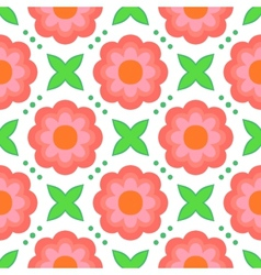 Pattern with bold stylized flowers in 1970s style vector image