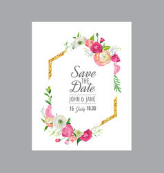 wedding invitation greeting with floral ornament vector image
