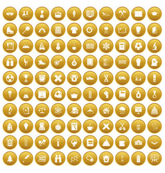 100 school years icons set gold vector image vector image