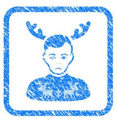Deers pullover horned husband framed stamp vector