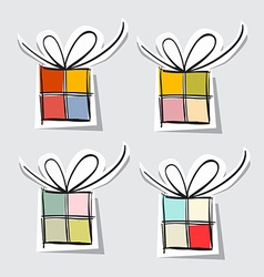 Paper Gift Box Set on Grey Background vector image