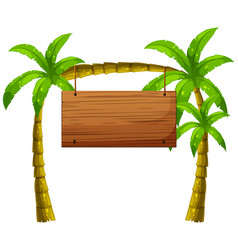 wooden sign on coconut trees vector image