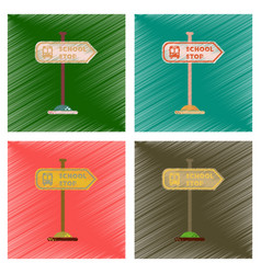 Assembly flat shading style icons school stop sign vector
