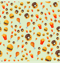 colorful cartoon fast food seamless pattern vector image