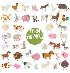 farm animal characters big set vector image