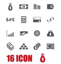 grey money icon set vector image vector image