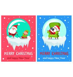 merry christmas santa set vector image vector image