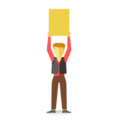 striking man holding empty banner above head vector image vector image