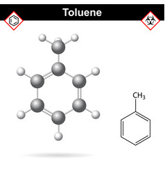 toluene organic solvent chemical structure vector image