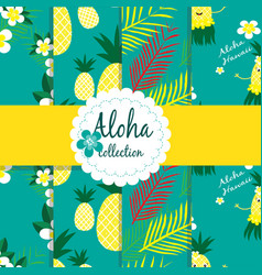 tropical flowers palm leaves pineapple on vector image