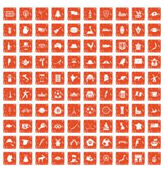 100 map icons set grunge orange vector