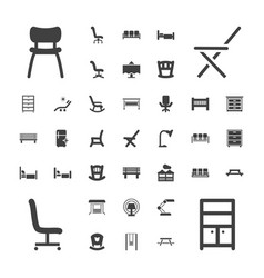 37 furniture icons vector