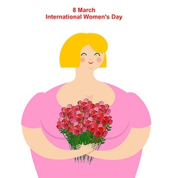 8 March Girl with flowers Merry happy women and vector image