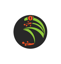 abstract red eye tree frog logo round shape vector image