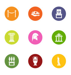 ancient time icons set flat style vector image