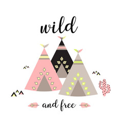 Background with teepees vector