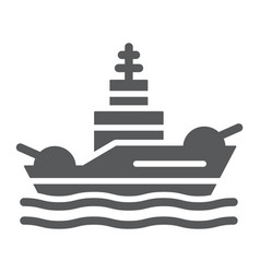 Battleship glyph icon navy and army warship sign vector