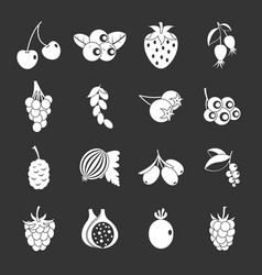 berries icons set grey vector image