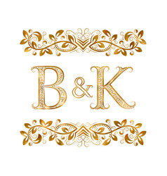 Bk vintage initials logo symbol letters b vector