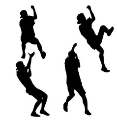 Black set silhouette mountain climber climbing a vector
